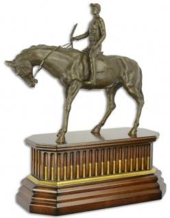 Casa Padrino Luxus Bronze Skulptur Jockey mit Pferd auf Holzsockel Bronze / Braun / Gold 44 x 19, 8 x H. 52, 4 cm - Bronzefigur - Dekofigur - Deko Accessoires