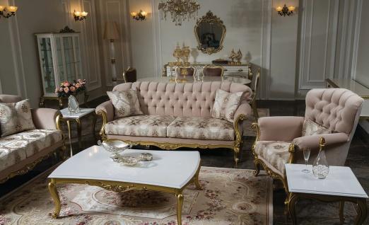 Casa Padrino Luxus Barock Wohnzimmer Set Rosa / Weiß / Gold - 2 Sofas & 2 Sessel & 1 Couchtisch & 2 Beistelltische - Wohnzimmer Möbel im Barockstil - Edel & Prunkvoll