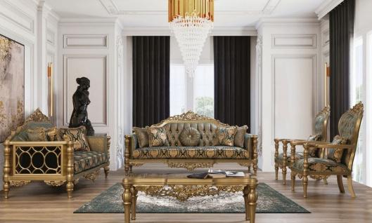 Casa Padrino Luxus Barock Wohnzimmer Set Grün / Gold - 2 Sofas & 2 Sessel & 1 Couchtisch - Wohnzimmer Möbel im Barockstil - Edel & Prunkvoll