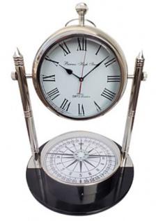 Casa Padrino Tischuhr mit Kompass Silber / Schwarz Ø 48 x H. 63, 5 cm - Wohnzimmer Deko - Vorschau