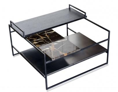 Casa Padrino Luxus Couchtisch Schwarz 60 x 60 x H. 36, 5 cm - Designer Wohnzimmertisch