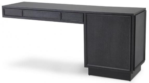 Casa Padrino Designer Massivholz Schreibtisch Anthrazitgrau 183 x 51 x H. 79 cm - Bürotisch - Computertisch - Büro Möbel - Luxus Qualität