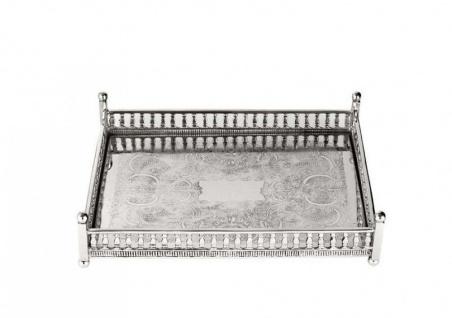 Casa Padrino Luxus Art Deco Messing Tablett Nickel Finish 32 x 22, 5 x H. 8 cm - Luxus Hotel Tablett