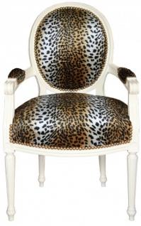 Casa Padrino Barock Salon Stuhl Leopard Muster / Creme Mod2 Rund