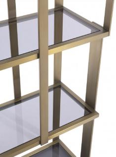 Casa Padrino Luxus Regalschrank Messing / Mattschwarz / Grau 100 x 37 x H. 240, 5 cm - Edelstahl Schrank mit 5 Glasregalen - Wohnzimmerschrank - Büroschrank - Luxus Möbel - Vorschau 5