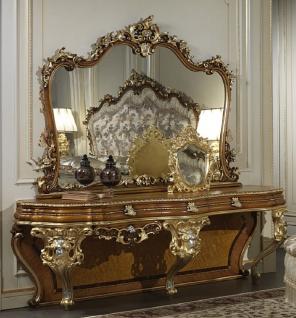Casa Padrino Luxus Barock Konsole mit Spiegel Braun / Gold / Silber - Prunkvoller handgefertigter Schminktisch mit Wandspiegel - Hotel Möbel - Schloss Möbel - Luxus Qualität - Made in Italy