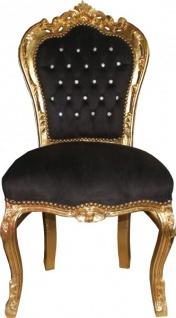 Casa Padrino Barock Esszimmer Stuhl Schwarz/Gold mit Bling Bling Glitzersteinen - Möbel Antik Stil - Limited Edition