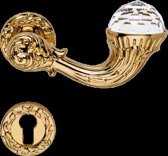 Casa Padrino Luxus Jugendstil Türgriff / Türklinken Set mit Swarovski Kristallglas Gold 15 x H. 5, 3 cm - Luxus Qualität Made in Italy