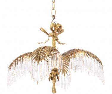 Casa Padrino Luxus Kristallglas Kronleuchter Vintage Messingfarben 65 x 65 x H. 46 cm - Luxus Qualität