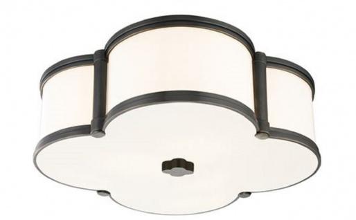 Casa Padrino Luxus Deckenleuchte Antik Bronze / Weiß 42, 6 x 42, 6 x H. 14 cm - Deckenlampe in Kleeblatt Form - Luxus Qualität
