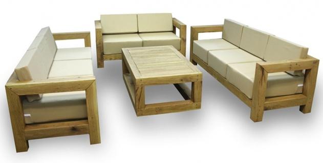 Casa Padrino Luxus Massivholz Gartenmöbel Set Beige / Naturfarben - 3 Sofas & 1 Couchtisch - Moderne Eichenholz Garten & Terrassen Möbel - Vorschau 2