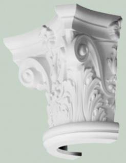 Casa Padrino Barock Zierelement Säulen Kopfteil Weiß 36 x 18 x H. 30 cm - Prunkvolle Wanddeko - Barock Deko