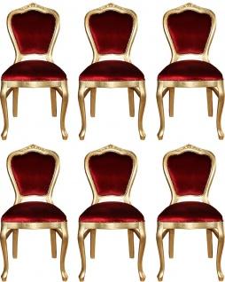 Casa Padrino Luxus Barock Esszimmer Set Bordeauxrot / Gold 45 x 46 x H. 99 cm - 6 handgefertigte Esszimmerstühle - Barock Esszimmermöbel