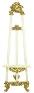 Casa Padrino Barock Staffelei Weiß / Gold 55 x H. 170 cm - Prunkvolle Massivholz Staffelei mit ausklappbarem Ständer