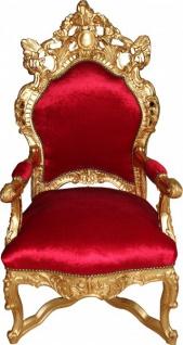 Casa Padrino Barock Thron Sessel Bordeaux Rot / Gold - Unikat - Barock Möbel Tron Königssessel