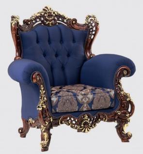 Casa Padrino Luxus Barock Sessel Blau / Dunkelbraun / Gold 110 x 95 x H. 121 cm - Prunkvoller Wohnzimmer Sessel mit elegantem Muster - Barock Möbel