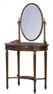 Casa Padrino Luxus Barock Schminktisch Dunkelbraun / Braun 80 x 57 x H. 142 cm - Ovaler Schminktisch im Barockstil