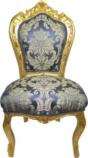 Casa Padrino Barock Esszimmer Stuhl Blau Muster / Gold - Antik Möbel