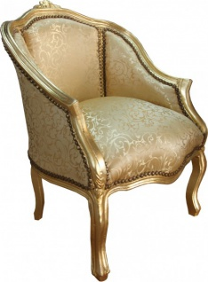 Casa Padrino Barock Damen Salon Sessel Gold Muster/ Gold Mod2 - Möbel Antik Stil