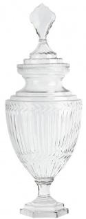 Casa Padrino Barock Glasvase mit Deckel Ø 21, 5 x H. 63 cm - Runde Deko Vase aus mundgeblasenem Glas - Blumenvase - Barock Deko Accessoires
