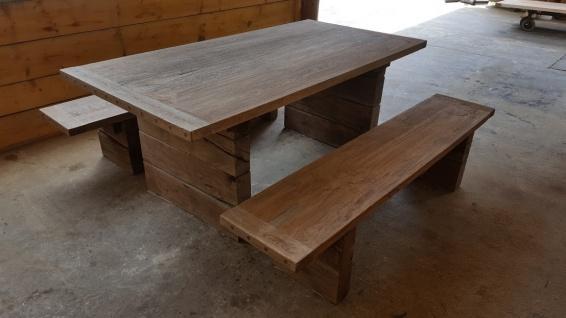 Casa Padrino Gartenmöbel Set Rustikal - Tisch + 2 Garten Bänke (Länge 200 cm) - Eiche Massivholz - Echtholz Möbel Massiv - Vorschau 4