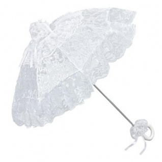 Romantischer Brautschirm Hochzeitsschirm in weiß von MySchirm.de - Decoschirm