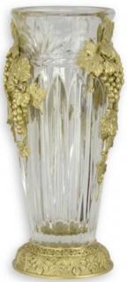 Casa Padrino Barock Vase Gold 15, 3 x 13 x H. 32, 7 cm - Prunkvolle Glas Blumenvase mit eleganten Bronze Verzierungen - Barock Deko Accessoires