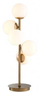 Casa Padrino Luxus Tischleuchte Antik Messingfarben / Weiß Ø 28 x H. 67 cm - Wohnzimmer Tischlampe