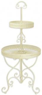 Casa Padrino Jugendstil Etagere Weiß Ø 60 x H. 137 cm - Runde 2-Stufige Metall Etagere mit Tragegriff - Gastronomie Accessoires