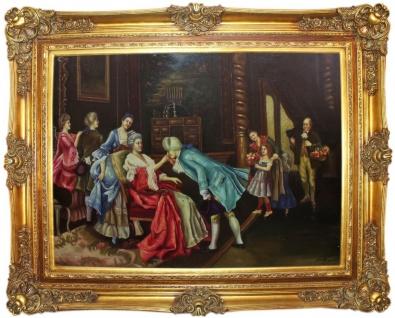 Casa Padrino Barock Ölgemälde Der Geburtstag Mehrfarbig / Gold 160 x 10 x H. 130 cm - Handgemaltes Gemälde mit prunkvollem Rahmen im Barockstil - Wanddeko im Barockstil
