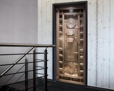 Tür 2.0 XXL Wallpaper für Türen 20013 Safe - selbstklebend- Blickfang für Ihr zu Hause - Tür Aufkleber Tapete Fototapete FotoTür 2.0 XXL Vintage Antik Stil Retro Wallpaper Fototapete
