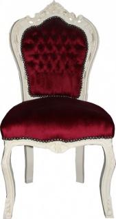 Casa Padrino Barock Esszimmer Stuhl Bordeauxrot / Creme Antik Look