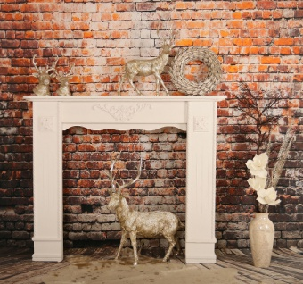 Casa Padrino Landhausstil Shabby Chic Kaminumrandung Antik Weiß 122 x 25 x H. 100 cm - Handgefertigte Deko im Landhausstil - Vorschau 4