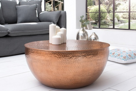 Casa Padrino Luxus Couchtisch kupfer 68 cm Aluminium - Wohnzimmer Salon Tisch - Unikat - Vorschau 4