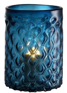 Casa Padrino Luxus Glas Kerzenleuchter Blau Ø 20 x H. 28 cm - Hotel & Restaurant Deko Accessoires
