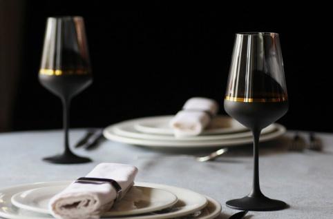 Casa Padrino Luxus Rotweinglas 6er Set Schwarz / Gold Ø 8, 5 x H. 24 cm - Handgefertigte und handbemalte Weingläser - Hotel & Restaurant Accessoires - Luxus Qualität