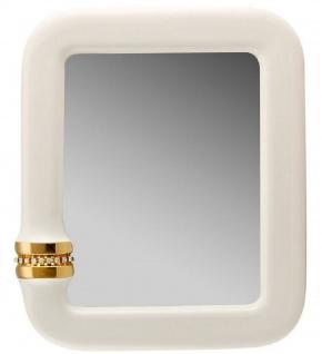 Casa Padrino Luxus Spiegel Elfenbeinfarben / Gold 70 x 8 x H. 80 cm - Rechteckiger Keramik Wandspiegel mit Kristallglas Kette - Luxus Qualität