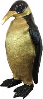 Casa Padrino Designer Dekofigur Pinguin Schwarz / Gold 24 x 20 x H. 48 cm - Wetterbeständige Deko Skulptur - Wohnzimmer Deko - Garten Deko - Designer Deko Tierfigur