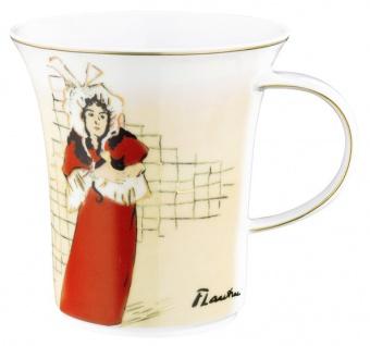 """Handgearbeiteter Becher mit Henkel aus Porzellan mit einem Motiv von T. Lautrec """" May Belfort"""" 0, 25 Ltr. - feinste Qualität aus der Tettau Porzellanfabrik"""