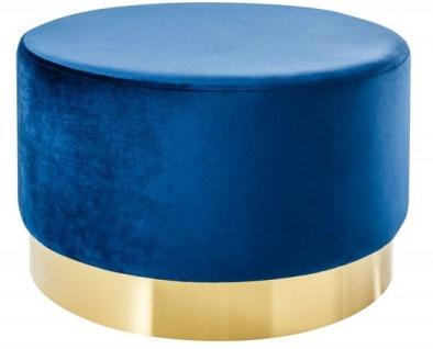 Casa Padrino Designer Rundhocker Blau / Gold B. 55 x H. 35 cm - Wohnzimmer Möbel