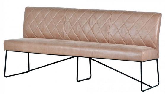 Casa Padrino Luxus Leder Sitzbank Hellbraun / Schwarz 210 x 66 x H. 92 cm - Echtleder Möbel