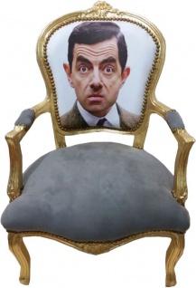 Casa Padrino Barock Salon Stuhl Face Grau / Gold - Limited Edition