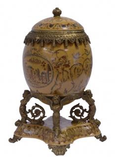 Casa Padrino Barock Porzellan Ei mit Deckel Mehrfarbig / Antik Messingfarben 20, 5 x 15, 4 x H. 28, 3 cm - Prunkvolle Barock Deko Aufbewahrungsbox