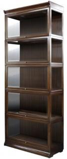 Casa Padrino Luxus Mahagoni Bücherschrank mit 5 Glastüren und LED Beleuchtung Dunkelbraun 90 x 39 x H. 223 cm - Luxus Büromöbel - Vorschau 1