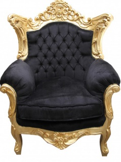 Casa Padrino Barock Antik Stil Wohnzimmer Sessel Al Capone Mod 2 Schwarz / Gold 85 x 65 x H. 127 cm - Limited Edition