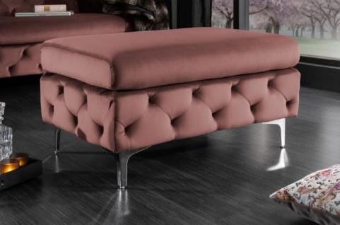 Casa Padrino Chesterfield Samt Hocker Altrosa / Silber 90 x 63 x H. 47 cm - Moderner rechteckiger Sitzhocker - Wohnzimmermöbel - Vorschau 2