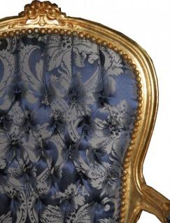Casa Padrino Barock Salon Stuhl Royal Blau Muster / Gold - Möbel Lounge Hotel - Vorschau 2