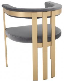 Casa Padrino Luxus Esszimmerstuhl mit Armlehnen Grau / Messingfarben 61 x 56 x H. 73 cm - Edelstahl Küchenstuhl mit edlem Samtstoff - Luxus Küchenmöbel - Vorschau 3