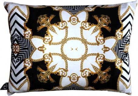 Casa Padrino Luxus Barock Kissen Paris Schwarz / Weiß / Gold 35 x 55 cm - Feinster Samtstoff - Wohnzimmer Deko Accessoires