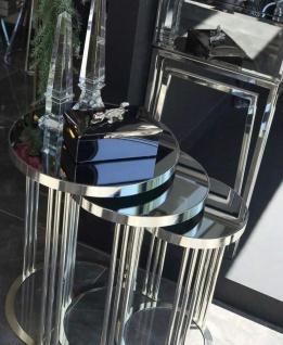 Casa Padrino Luxus Beistelltisch Set Silber - 3 runde Metall Tische mit Glasplatte - Wohnzimmer Möbel - Luxus Möbel